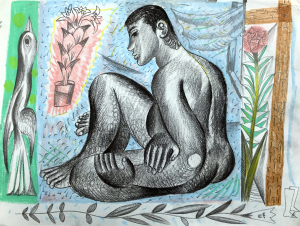 Louis Fratino Seated nude with bird and flowers 2018 AmC Collezione Coppola